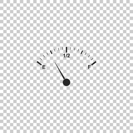 Motor gas gauge icon isolated on transparent background. Empty fuel meter. Full tank indication. Flat design. Vector Illustration