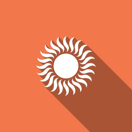 Sun icon isolated with long shadow. Flat design. Vector Illustration Иллюстрация