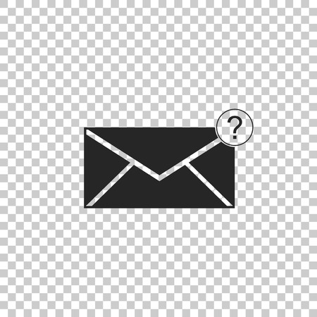 Envelope with question mark icon isolated on transparent background. Letter with question mark symbol. Send in request by email. Flat design. Vector Illustration Vetores