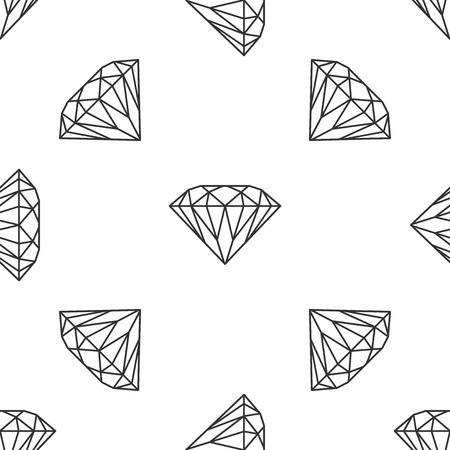 Diamond sign isolated seamless pattern on white background. Jewelry symbol. Gem stone. Flat design. Vector Illustration