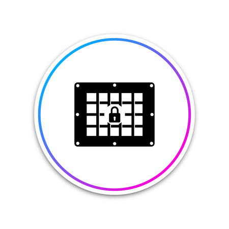 Prison window icon isolated on white background. Circle white button. Vector Illustration