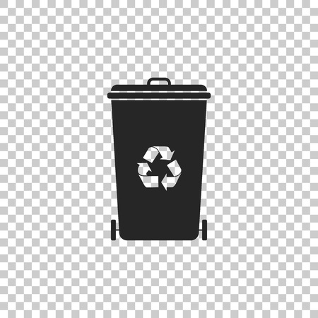 Recycle bin with recycle symbol icon isolated on transparent background. Trash can icon. Garbage bin sign. Recycle basket icon. Flat design. Vector Illustration