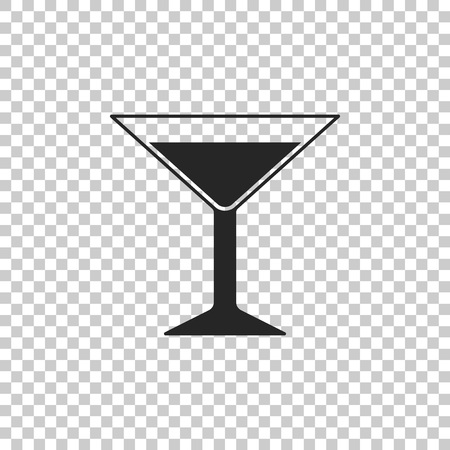Martini glass icon isolated on transparent background. Cocktail icon. Wine glass icon. Flat design. Vector Illustration