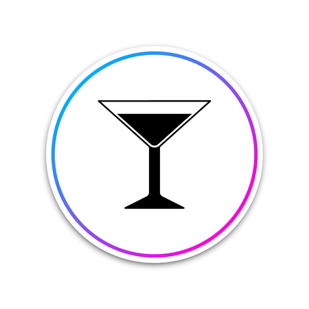 Martini glass icon isolated on white background. Cocktail icon. Wine glass icon. Circle white button. Vector Illustration