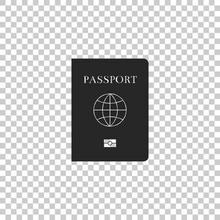 Passport with biometric data icon isolated on transparent background. Identification Document. Flat design. Vector Illustration