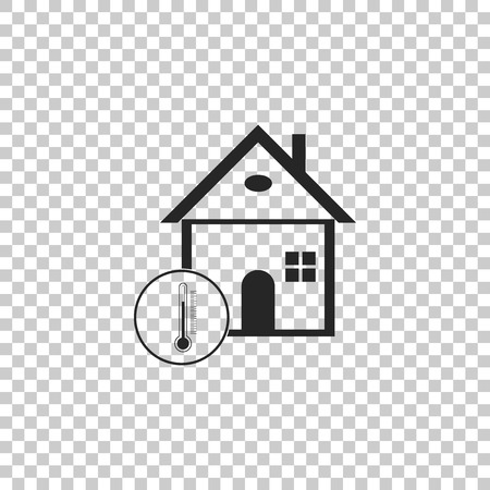 House temperature icon isolated on transparent background. Thermometer icon. Flat design. Vector Illustration