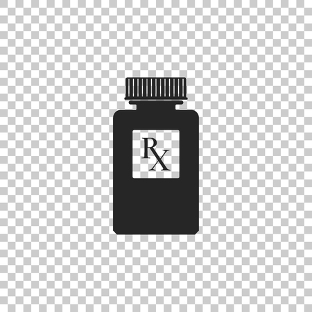 Pill bottle with Rx sign and pills icon isolated on transparent background. Pharmacy design. Rx as a prescription symbol on drug medicine bottle. Flat design. Vector Illustration Vektorové ilustrace