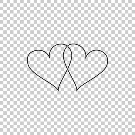 Two Linked Hearts icon isolated on transparent background. Heart two love sign. Romantic symbol linked, join, passion and wedding. Valentine day symbol. Flat design. Vector Illustration