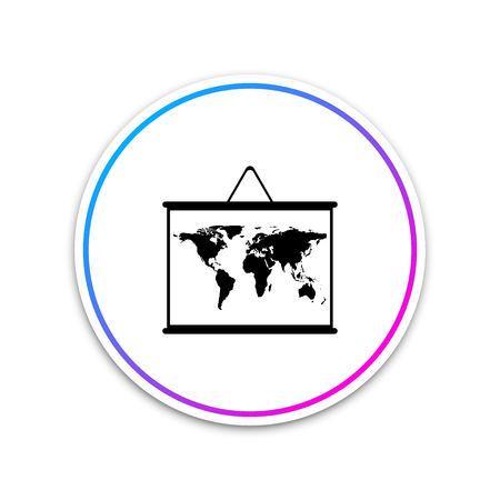 World map on a school blackboard icon isolated on white background. Drawing of map on chalkboard. Circle white button. Vector Illustration