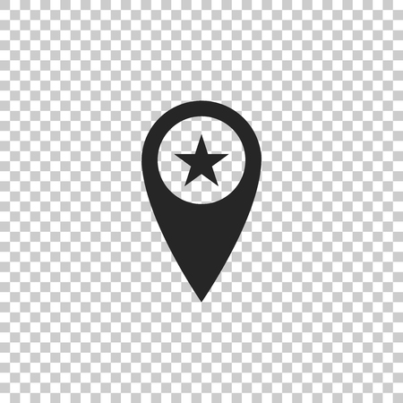 Map pointer with star icon isolated on transparent background. Star favorite pin map icon. Map markers. Flat design. Vector Illustration