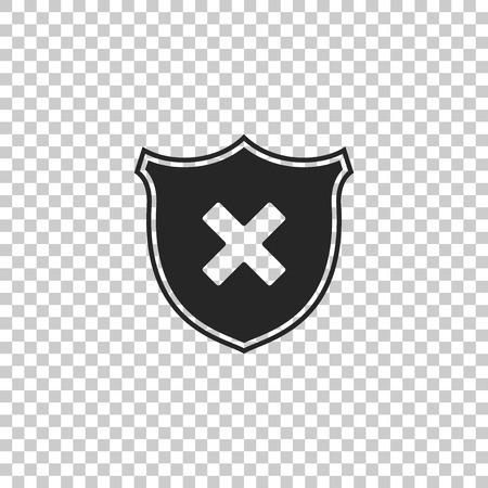 Shield and cross x mark icon isolated on transparent background. Denied disapproved sign. Protection and safety or security, reliability concepts. Flat design. Vector Illustration