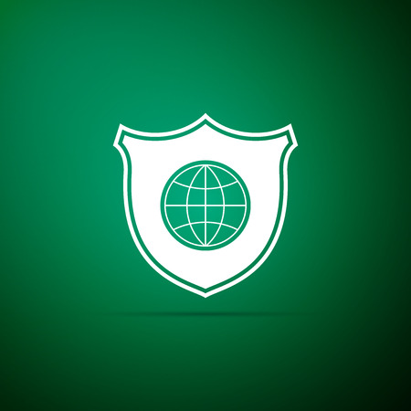 Shield with world globe icon isolated on green background. Security, safety, protection, privacy concept. Flat design. Vector Illustration