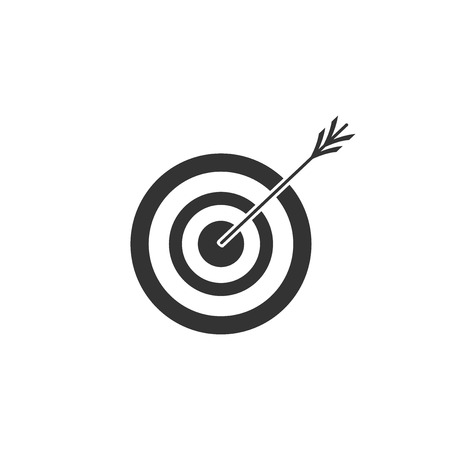 Target with arrow icon isolated. Dart board sign. Archery board icon. Dartboard sign. Business goal concept. Flat design. Vector Illustration Ilustração