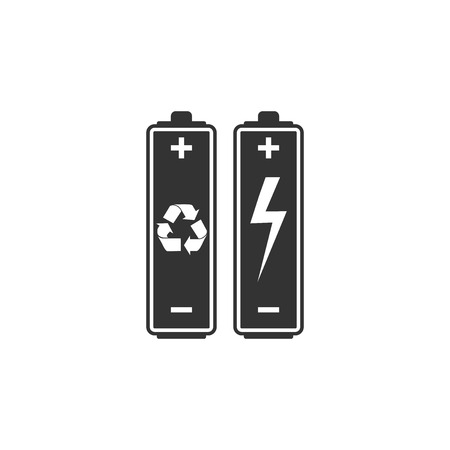 Battery with recycle symbol - renewable energy concept icon isolated. Flat design. Vector Illustration