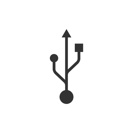 USB symbol icon isolated. Flat design. Vector Illustration