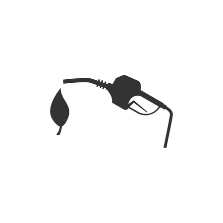 Bio fuel concept with fueling nozzle and leaf icon isolated. Natural energy concept. Gas station gun sign. Flat design. Vector Illustration