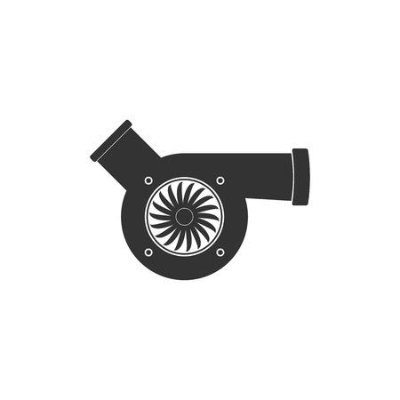 Automotive turbocharger icon isolated. Vehicle performance turbo icon. Car turbocharger sign. Turbo compressor induction symbol. Flat design. Vector Illustration