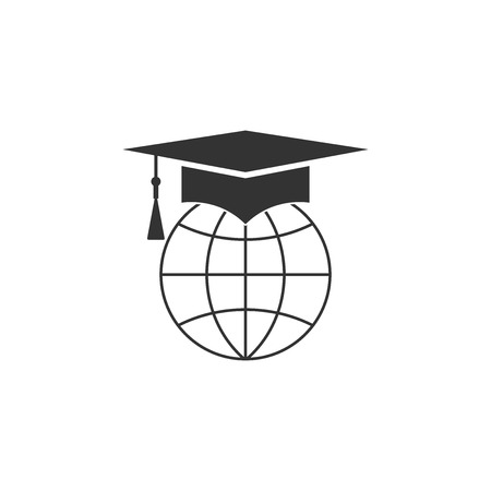 Graduation cap on globe icon isolated. World education symbol. Online learning or e-learning concept. Flat design. Vector Illustration