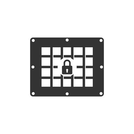 Prison window icon isolated. Flat design. Vector Illustration