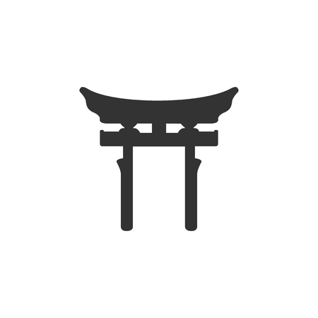 Japan Gate icon isolated. Torii gate sign. Japanese traditional classic gate symbol. Flat design. Vector Illustration