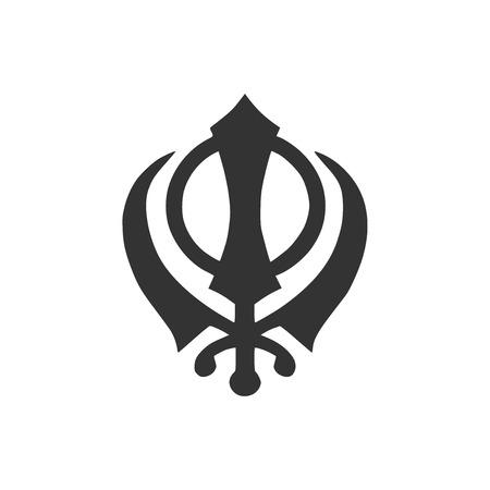 Sikhism religion Khanda symbol icon isolated. Khanda Sikh symbol. Flat design. Vector Illustration Illusztráció