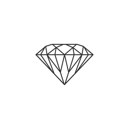 Diamond sign isolated. Jewelry symbol. Gem stone. Flat design. Vector Illustration