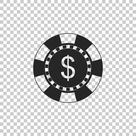 Casino chip and dollar symbol icon isolated on transparent background. Flat design. Vector Illustration