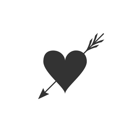 Amour symbol with heart and arrow icon isolated. Love sign. Valentines symbol. Flat design. Vector Illustration