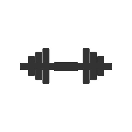 Dumbbell icon isolated. Muscle lifting icon, fitness barbell, gym icon, sports equipment symbol, exercise bumbbell. Flat design. Vector Illustration Illustration