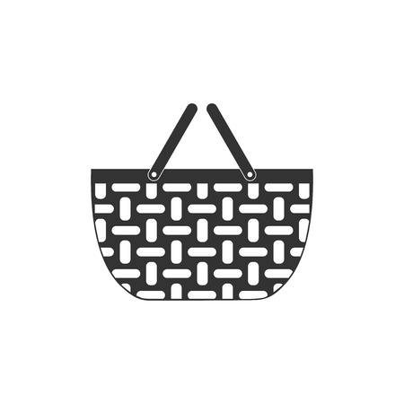 Wicker basket icon isolated. Shopping basket symbol. Flat design. Vector Illustration
