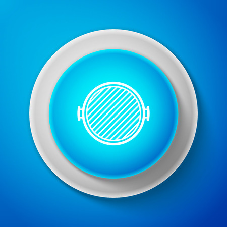 Barbecue grill icon isolated on blue background. Top view of BBQ grill. Circle blue button. Vector Illustration