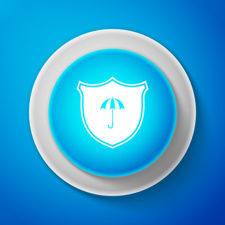 Waterproof icon isolated on blue background. Shield and umbrella. Water protection sign. Water resistant symbol. Circle blue button. Vector Illustration