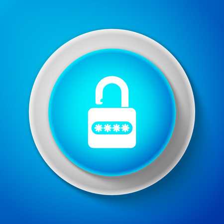 Password protection and safety access icon isolated on blue background. Security, safety, protection, privacy concept. Circle blue button. Vector Illustration