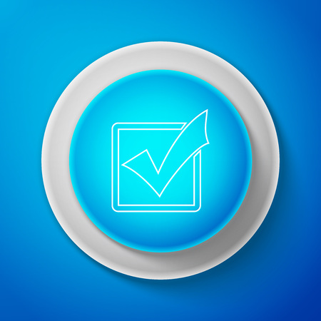 Check mark in a box line icon isolated on blue background. Tick symbol. Check list button sign. Circle blue button. Vector Illustration Ilustrace