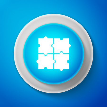 Piece of puzzle icon isolated on blue background. Business, marketing, finance, template, layout, infographics, internet concept. Circle blue button. Vector Illustration