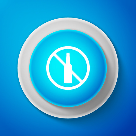 No alcohol icon isolated on blue background. Prohibiting alcohol beverages. Forbidden symbol with beer bottle glass. Circle blue button. Vector Illustration Ilustrace