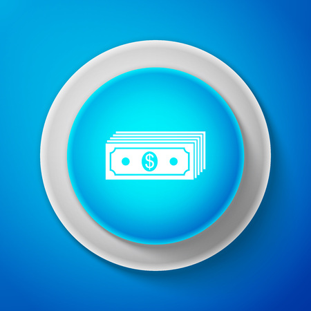 Paper money american dollars cash icon isolated on blue background. Money banknotes stack with dollar icon. Bill currency. Circle blue button. Vector Illustration