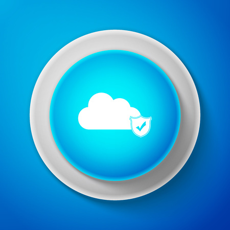Cloud and shield with check mark icon on blue background. Cloud storage data protection. Security, safety, protection, privacy concept. Cloud computing. Circle blue button. Vector Illustration