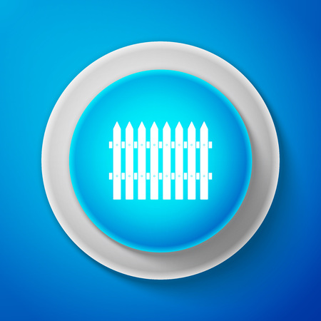 Fence wooden icon isolated on blue background. Garden fence sign. Circle blue button. Vector Illustration