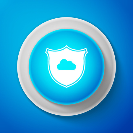 Cloud and shield icon isolated on blue background. Cloud storage data protection. Security, safety, protection, privacy concept. Cloud computing. Circle blue button. Vector Illustration Ilustrace