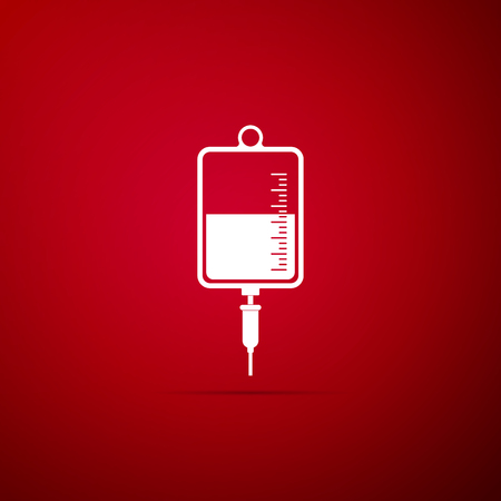 IV bag icon isolated on red background. Blood bag icon. Donate blood concept. The concept of treatment and therapy, chemotherapy. Vector Illustration