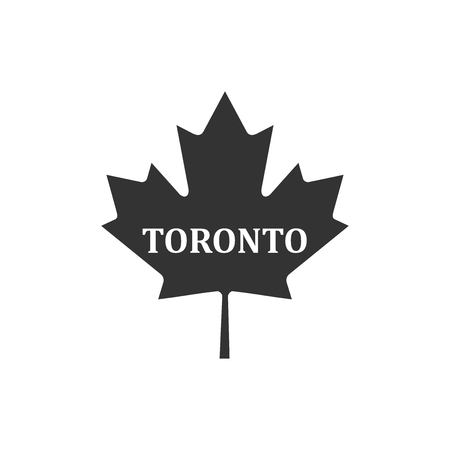 Canadian maple leaf with city name Toronto icon isolated. Flat design. Vector Illustration 向量圖像