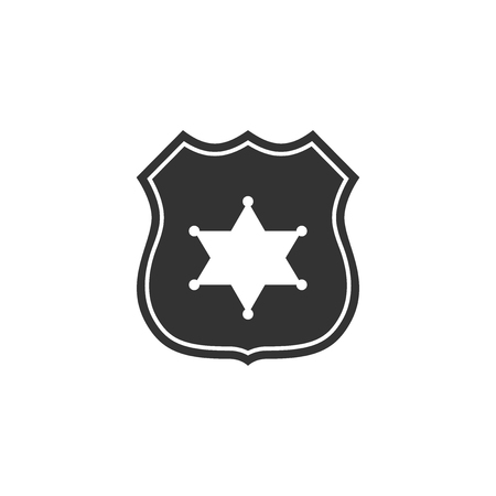 Police badge icon isolated. Flat design. Vector Illustration