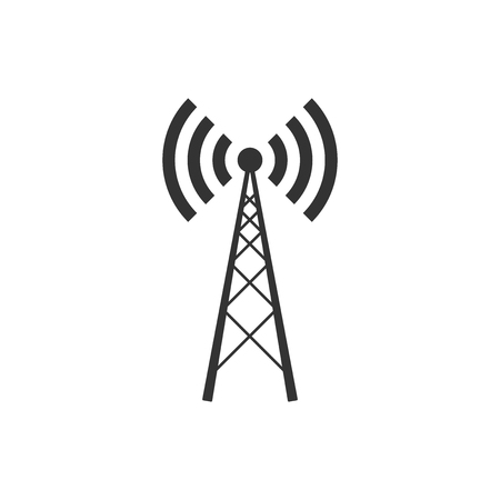 Icône d'antenne isolée. Antenne radio sans fil. Antenne radio de signal de technologie et de réseau. Conception plate. Illustration vectorielle