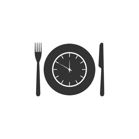 Plate with clock, fork and knife icon isolated. Lunch time. Eating, nutrition regime, meal time and diet concept. Flat design. Vector Illustration
