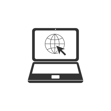 Website on laptop screen icon isolated. Laptop with globe and cursor. World wide web symbol. Flat design. Vector Illustration Illustration