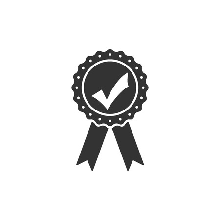 Approved or certified medal with ribbons and check mark icon isolated. Flat design. Vector Illustration Illustration