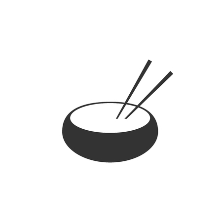 Bowl with asian food and pair of chopsticks silhouette icon isolated. Concept of prepare, eastern diet. Flat design. Vector Illustration Ilustrace