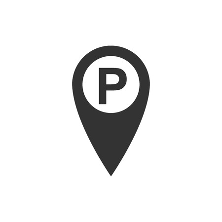 Map pointer with car parking sign isolated. Flat design. Vector Illustration Illustration