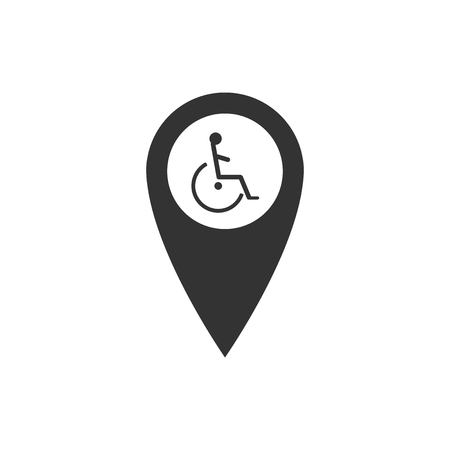 Disabled Handicap in map pointer icon isolated. Invalid symbol. Flat design. Vector Illustration Illustration